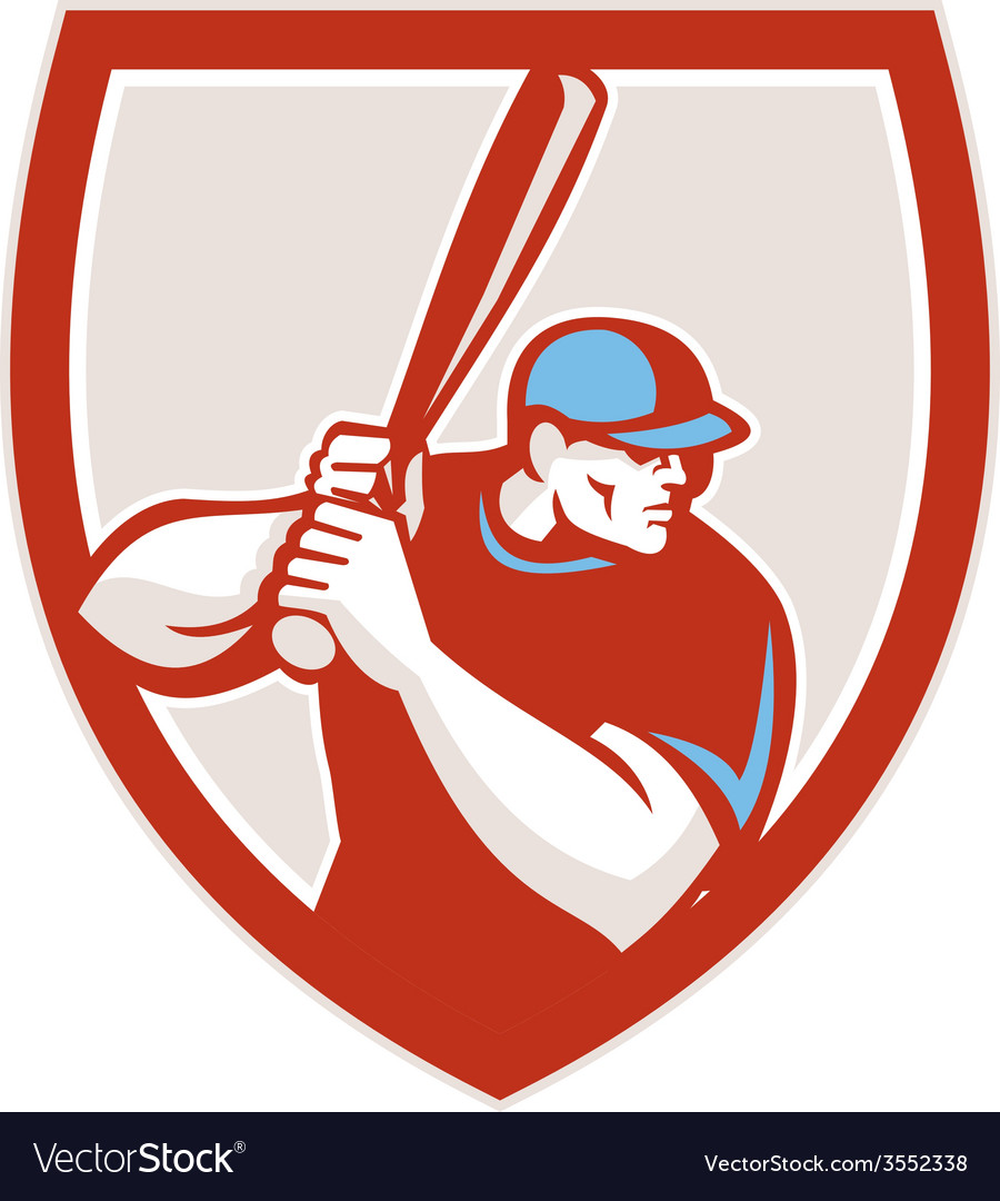 Baseball player batter hitter shield retro vector | Price: 1 Credit (USD $1)