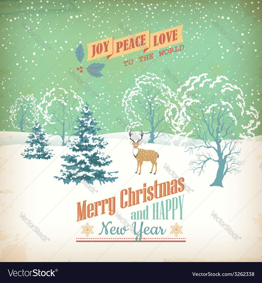 Christmas retro greeting card vector | Price: 1 Credit (USD $1)