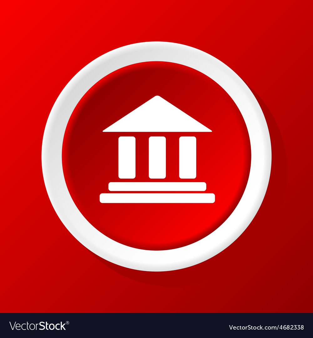 Classical building icon on red vector | Price: 1 Credit (USD $1)