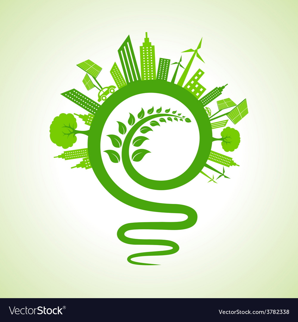 Eco cityscape with light-bulb and leaf icon vector | Price: 1 Credit (USD $1)