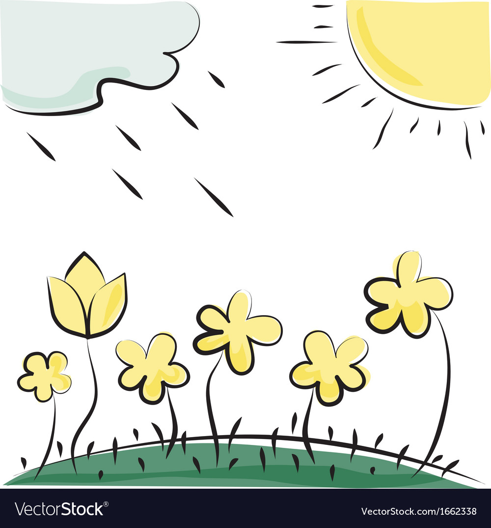 Flowers sun and cloud imitation of childrens vector | Price: 1 Credit (USD $1)