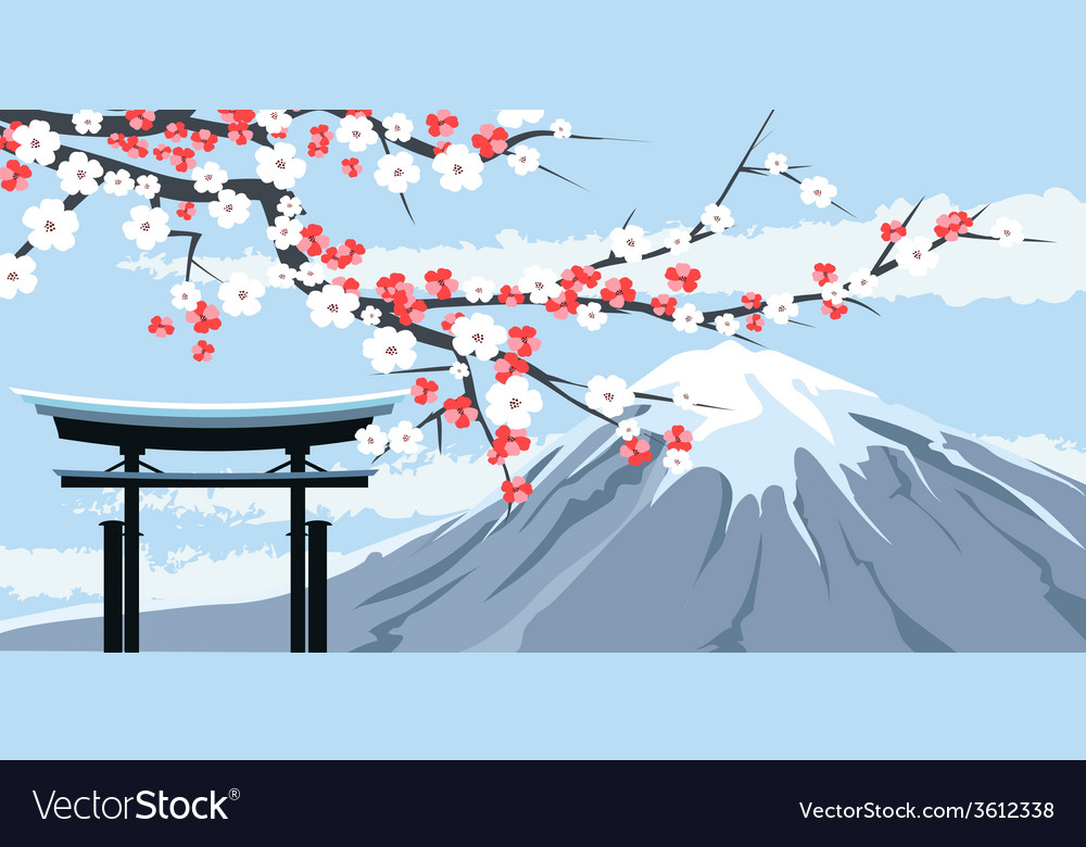 Graphic of mount fuji with cherry blossoms vector | Price: 1 Credit (USD $1)