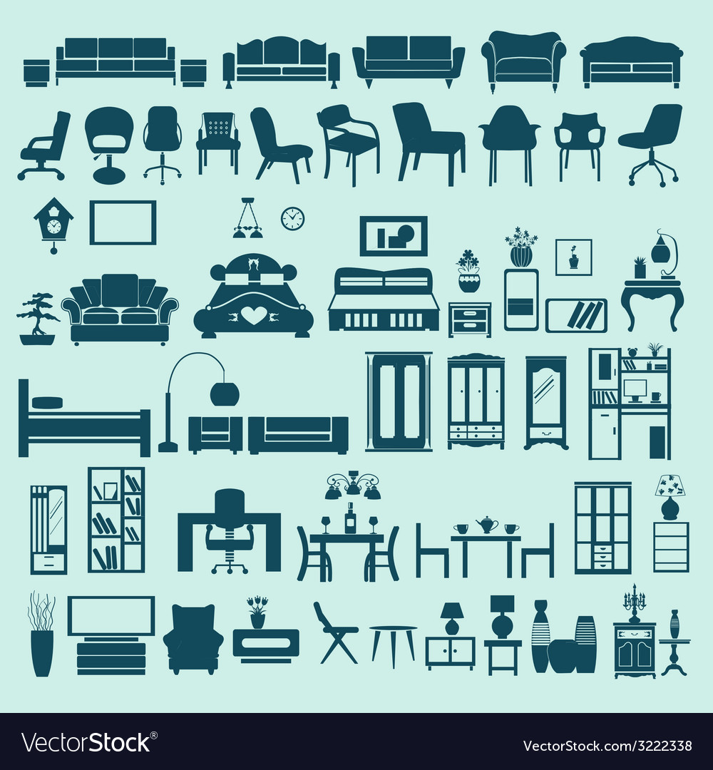 Icons set interior collection-silhouettes vector | Price: 1 Credit (USD $1)