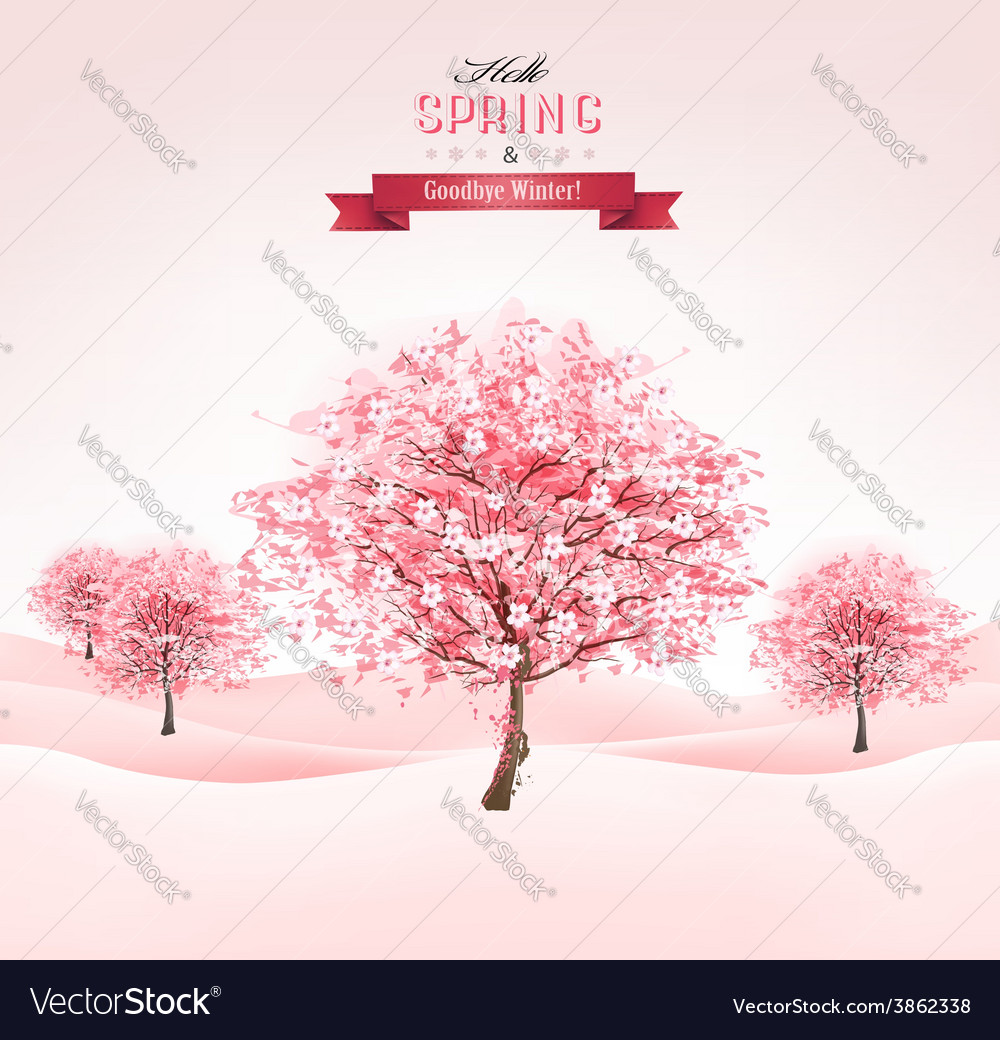 Spring background with blossoming sakura trees vector | Price: 3 Credit (USD $3)