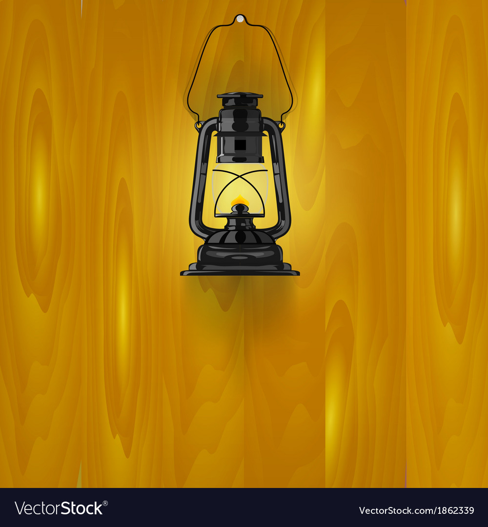 An old lamp on a wooden wall vector   Price: 1 Credit (USD $1)