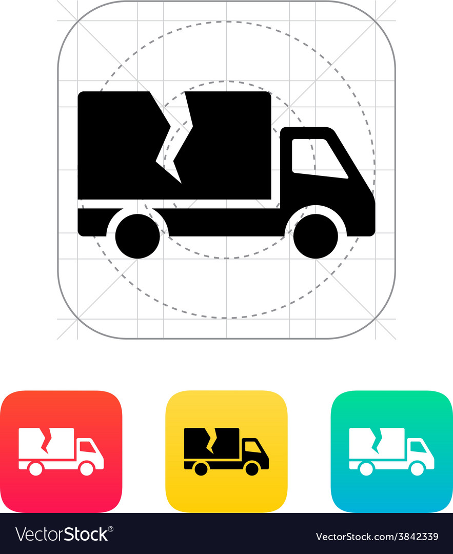 Damaged truck icon vector | Price: 1 Credit (USD $1)