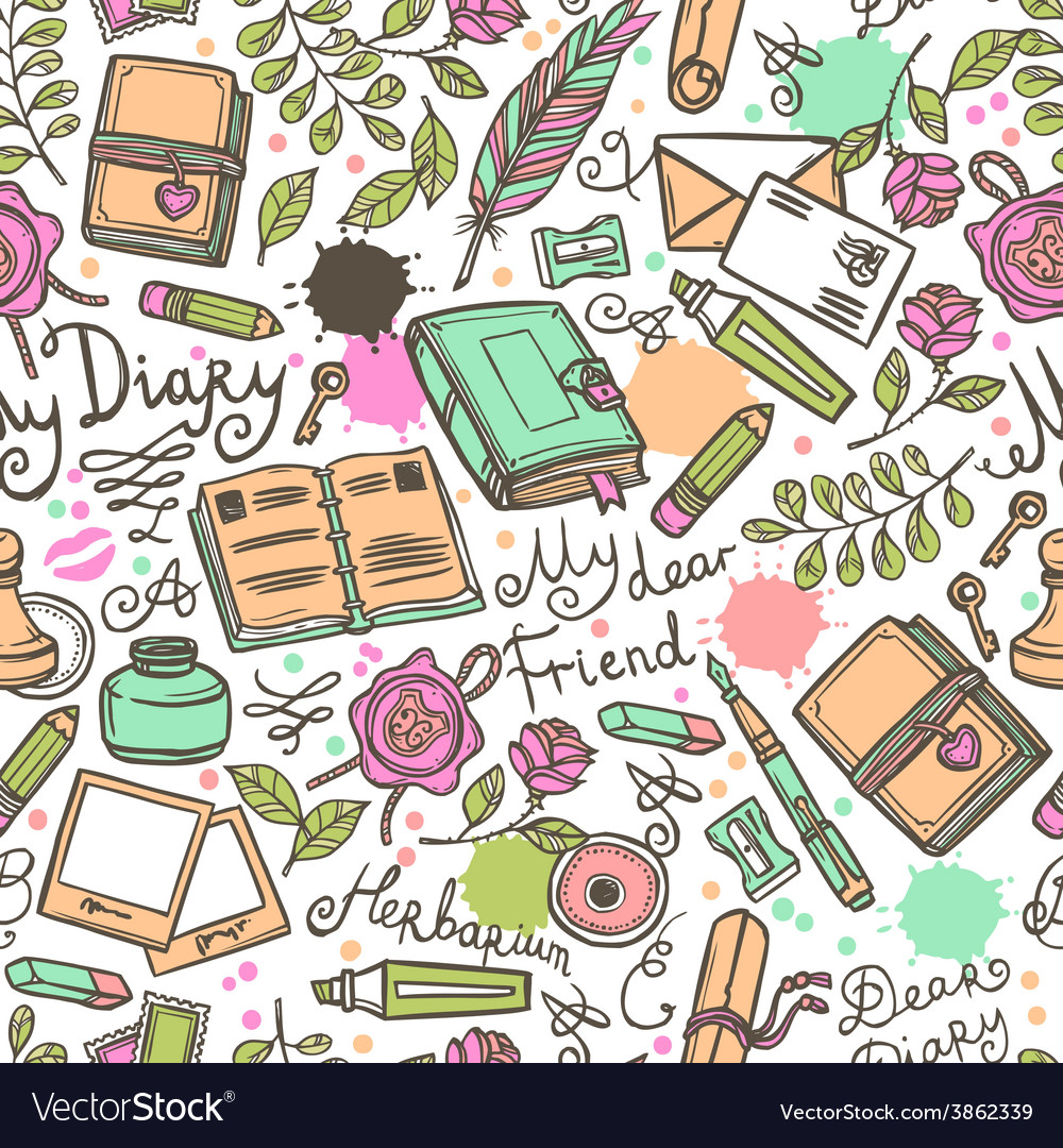 Diary seamless pattern vector | Price: 1 Credit (USD $1)