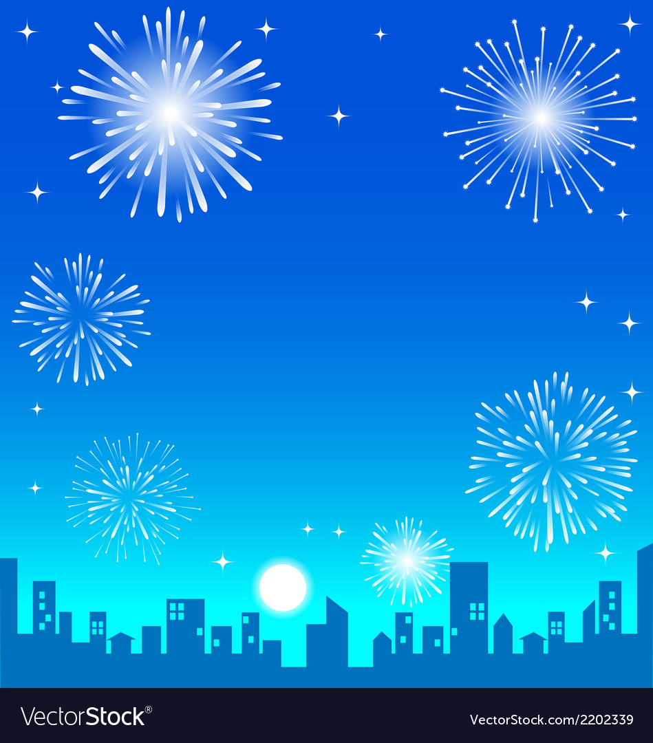 Fireworks over the night city vector | Price: 1 Credit (USD $1)