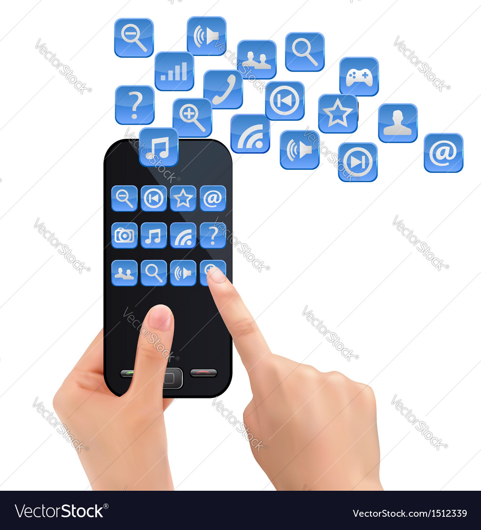 Hand holding mobile phone with icons vector | Price: 1 Credit (USD $1)