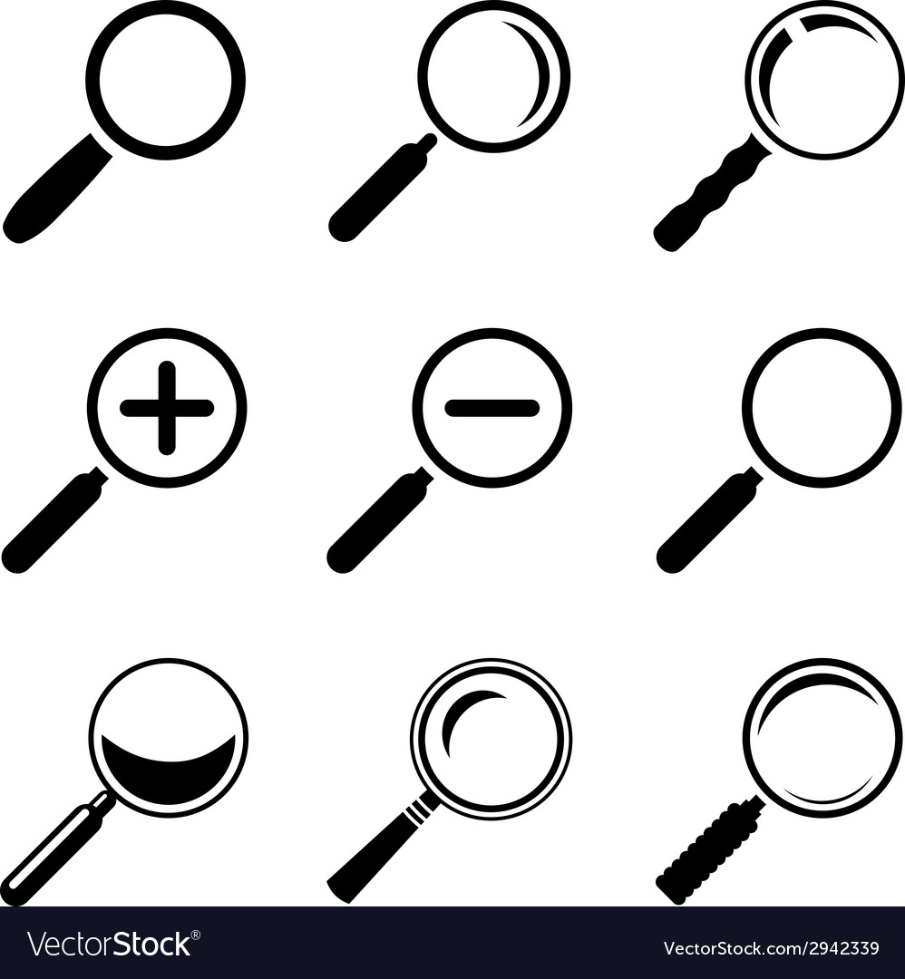 Magnifier glass icons vector | Price: 1 Credit (USD $1)