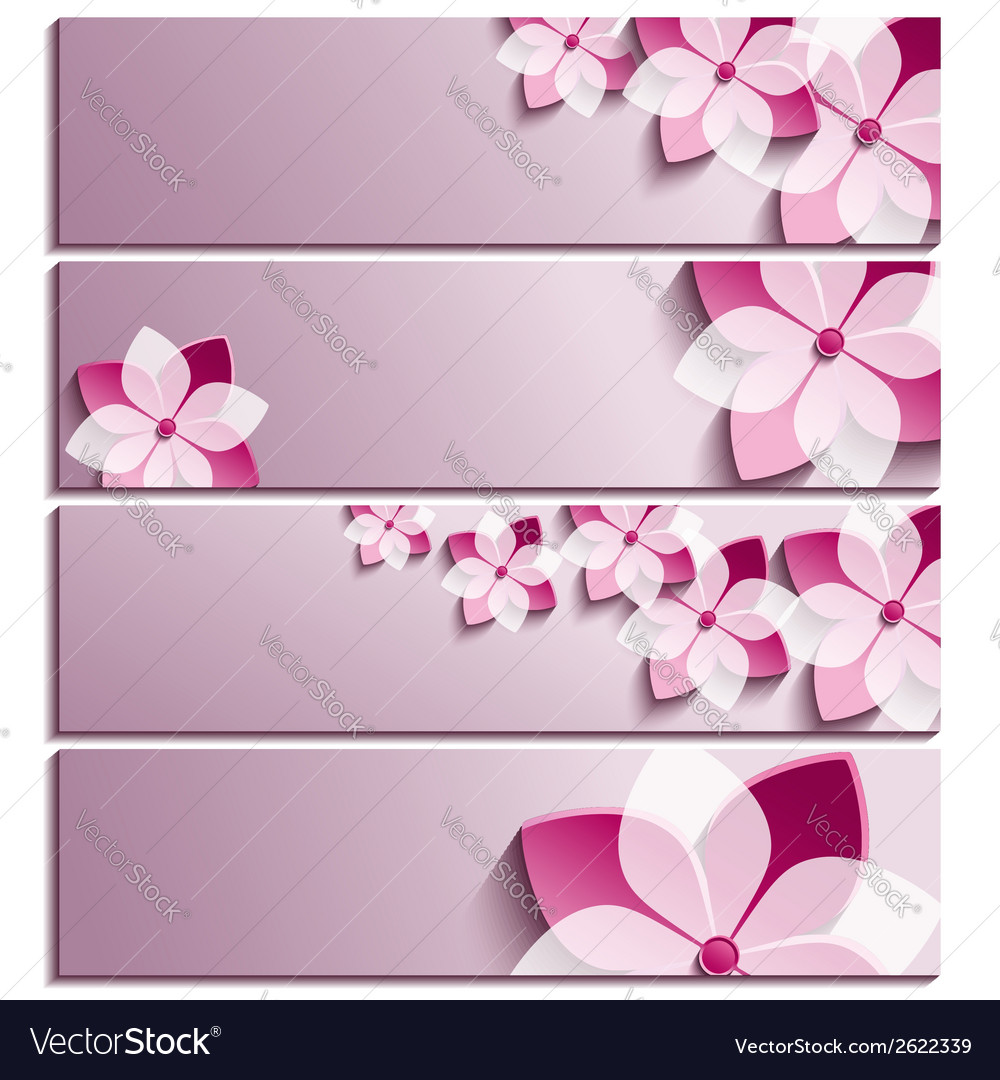 Set of horizontal banners with sakura flower vector | Price: 1 Credit (USD $1)
