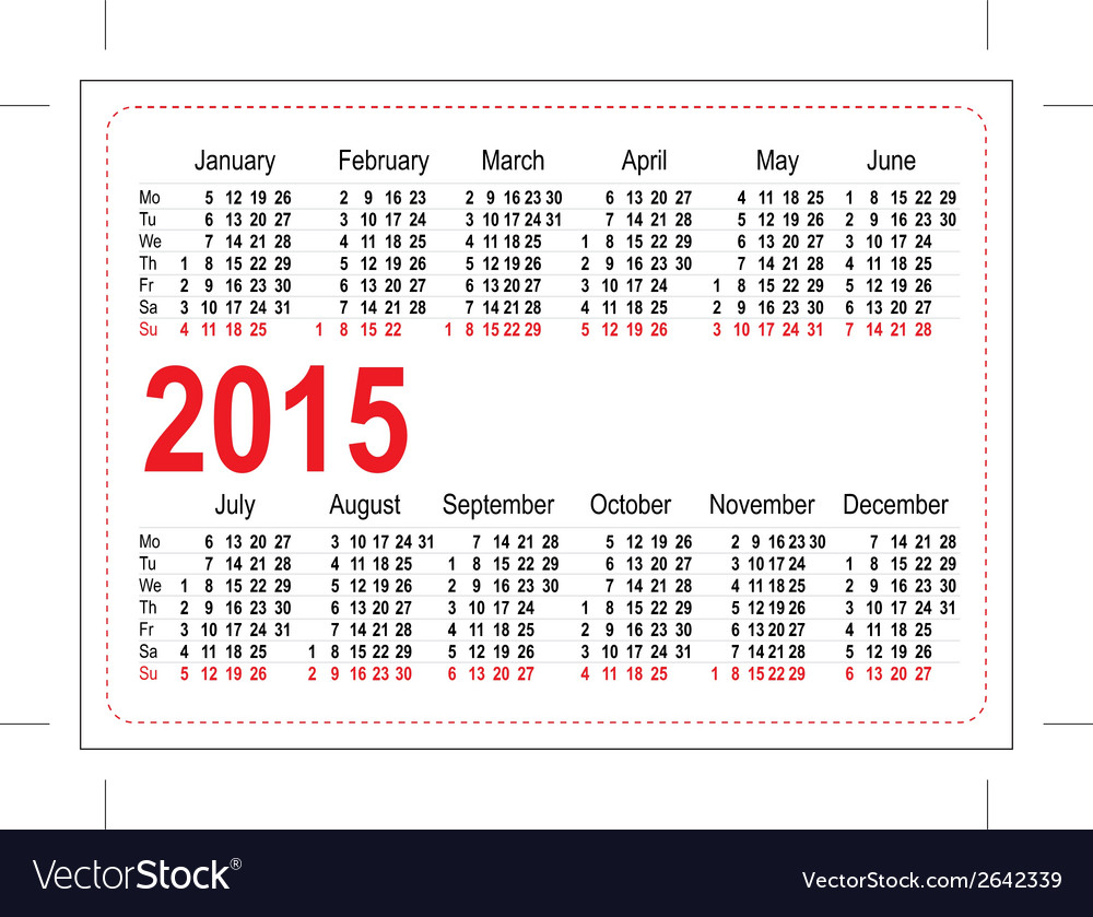 Template pocket calendar 2015 vector | Price: 1 Credit (USD $1)