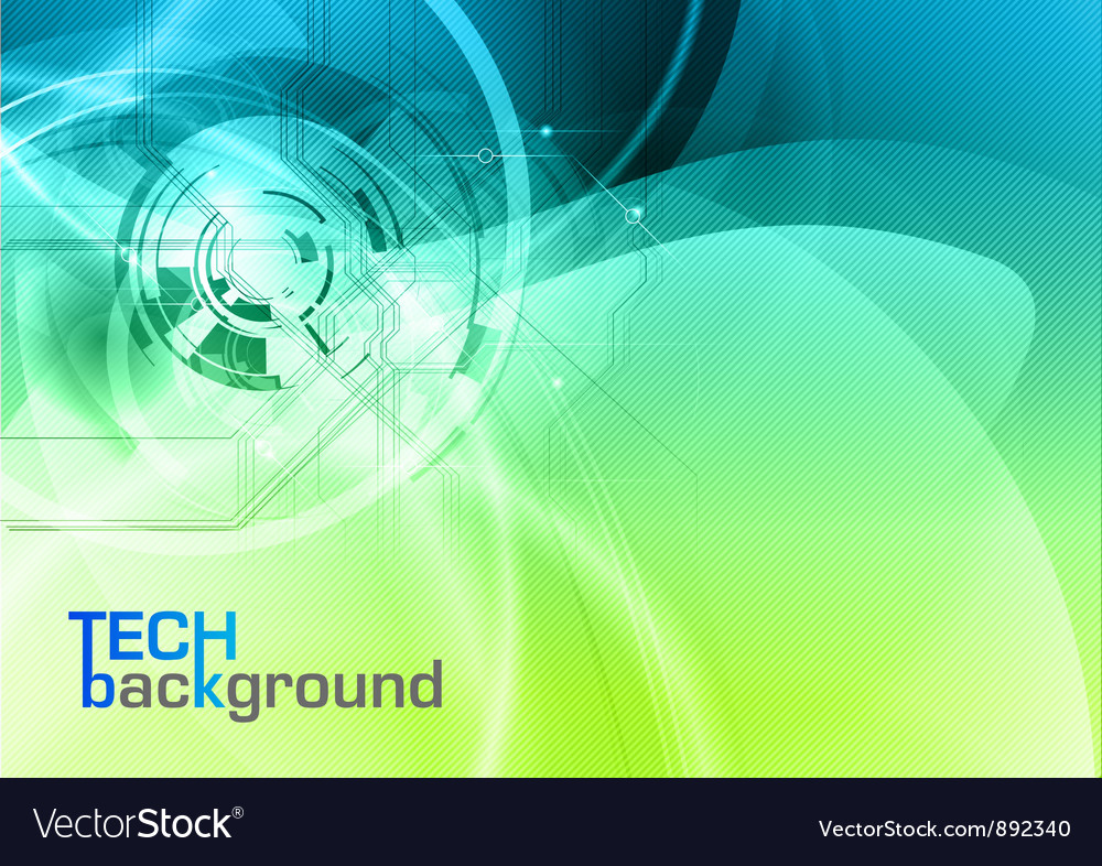 Background abstract blue and green wave and tech vector | Price: 1 Credit (USD $1)