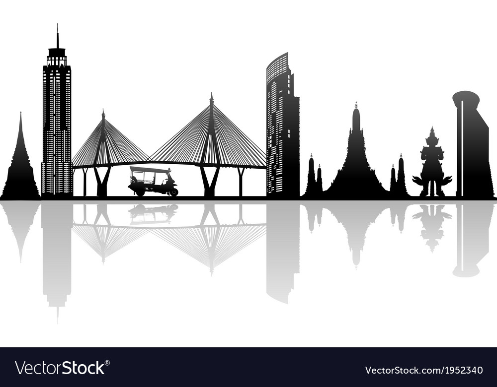 Bangkok thailand kingdom landmark silhouette vector | Price: 1 Credit (USD $1)