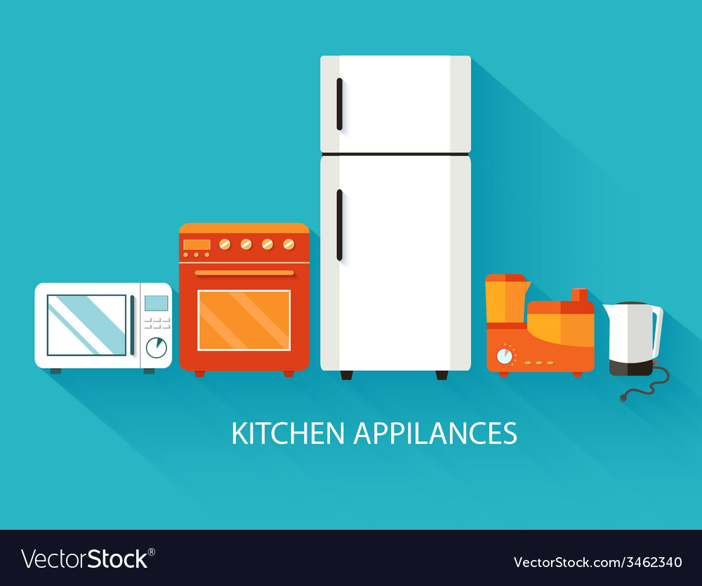 Flat modern kitchen appliances background concept vector | Price: 1 Credit (USD $1)