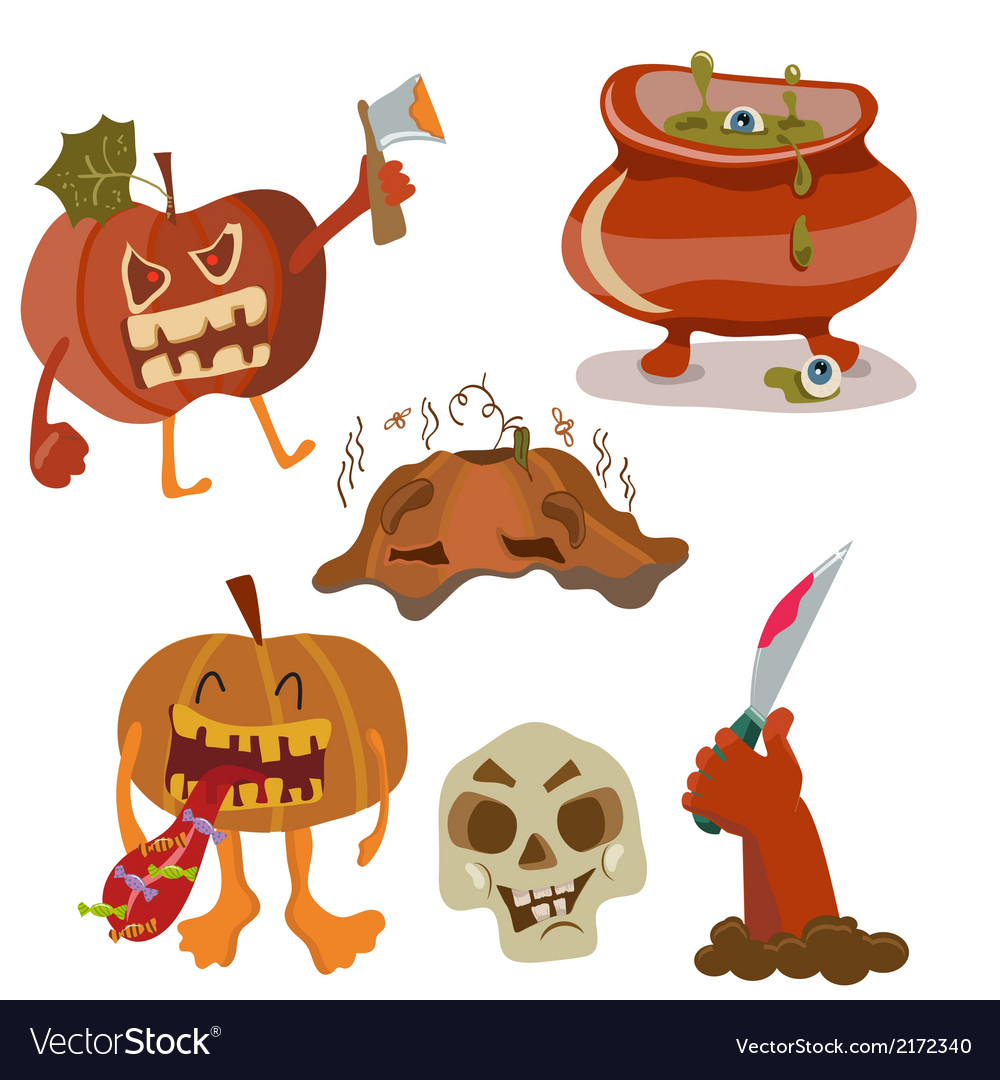 Halloween color funny set vector | Price: 1 Credit (USD $1)