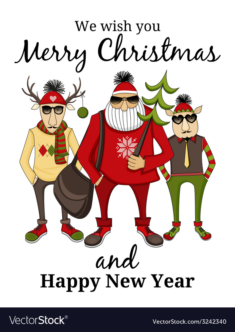 Hipster santa and company vector | Price: 1 Credit (USD $1)