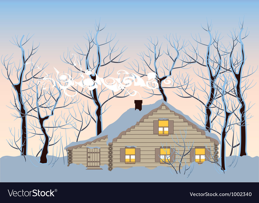Hut in winter forest vector | Price: 1 Credit (USD $1)
