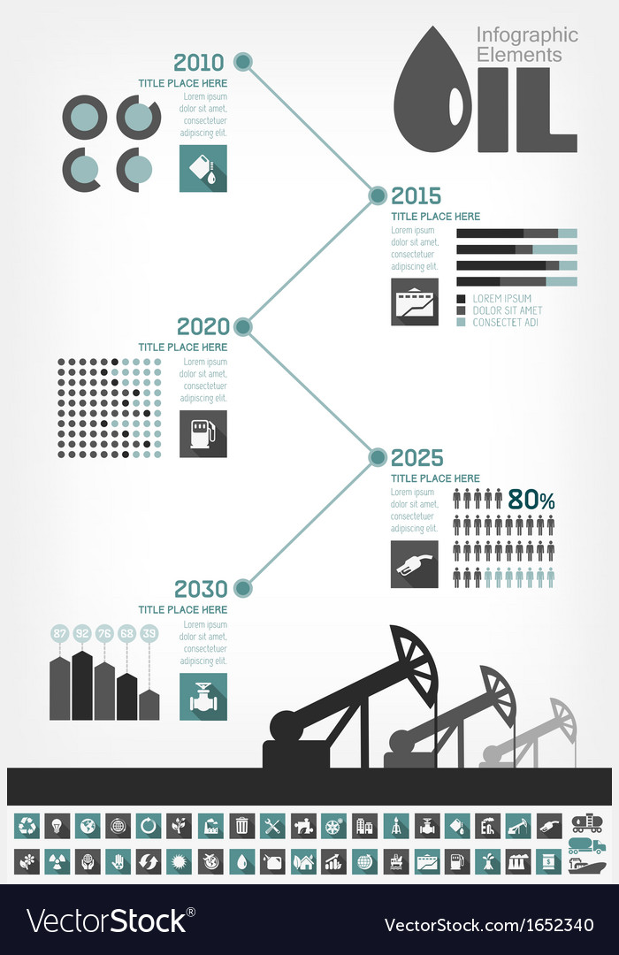 Oil industry infographic timeline vector | Price: 1 Credit (USD $1)