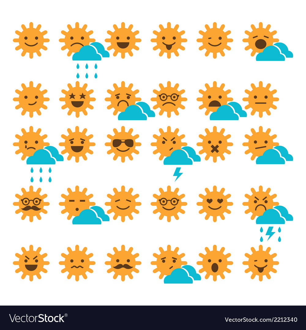 Set of suns with different emotions vector | Price: 1 Credit (USD $1)