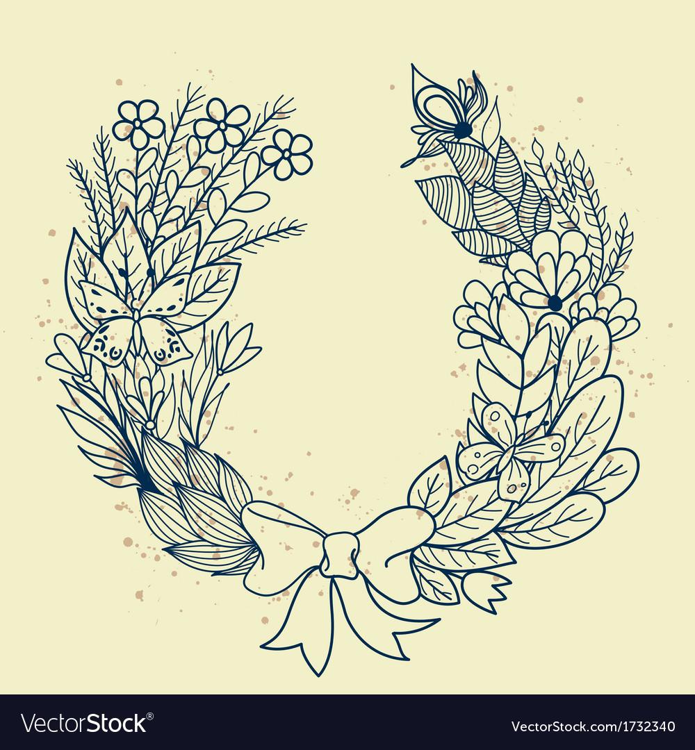 Sketch of floral wreath vector | Price: 1 Credit (USD $1)