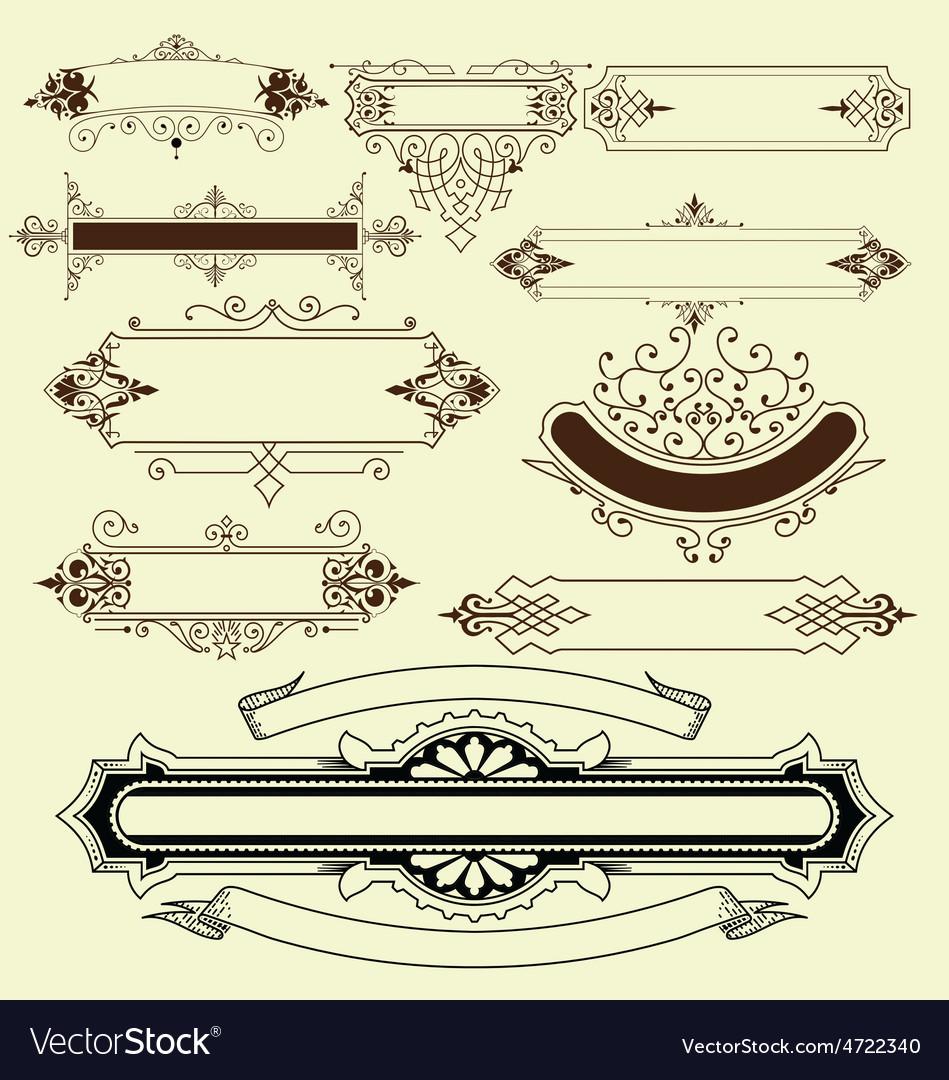 Vintage floral decorative border elements vector | Price: 1 Credit (USD $1)
