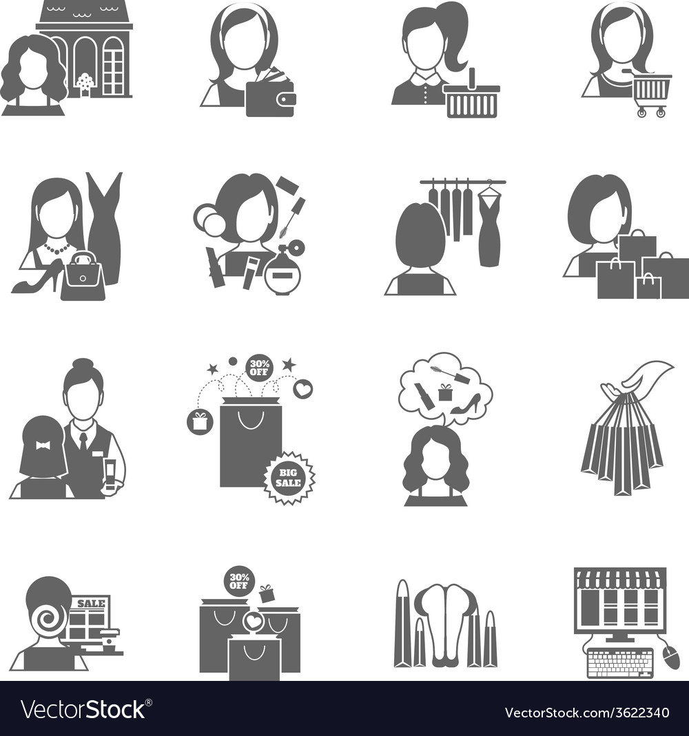 Woman shopping icon black vector | Price: 1 Credit (USD $1)