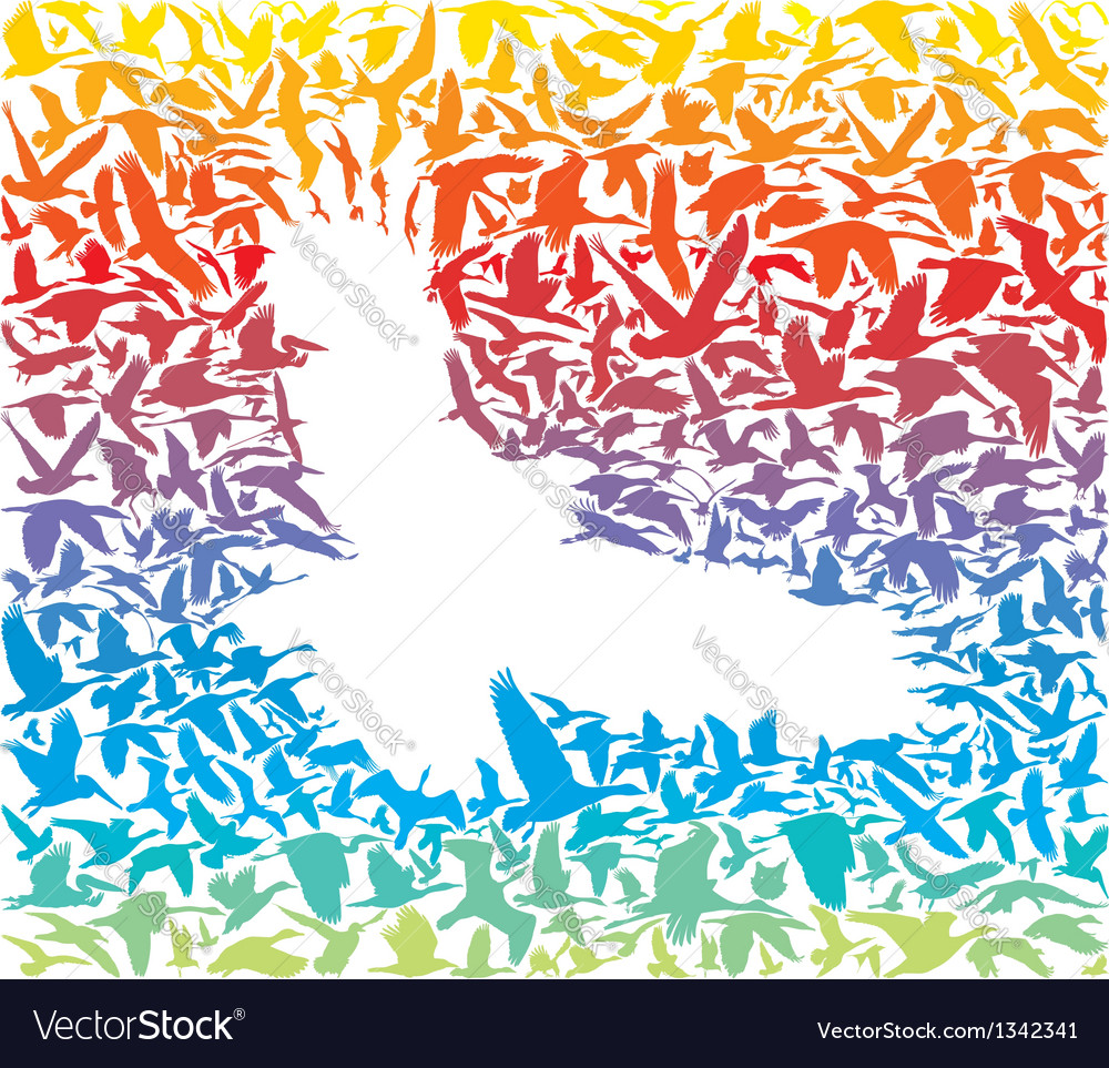 Abstract rainbow predator bird and its prey vector | Price: 1 Credit (USD $1)