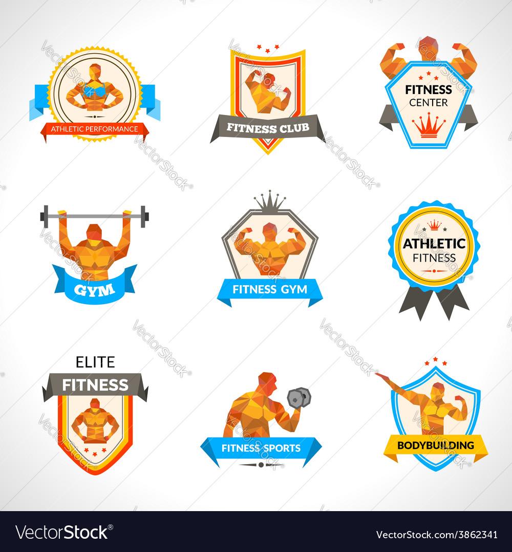 Bodybuilding emblems set vector | Price: 1 Credit (USD $1)