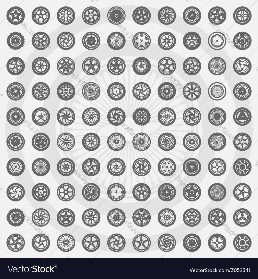 Car wheel set rims icons vector | Price: 1 Credit (USD $1)