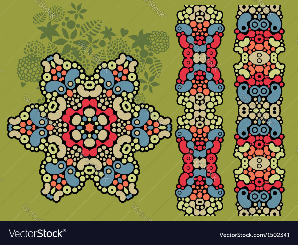 Decorative star and two psychedelic patterns vector | Price: 1 Credit (USD $1)
