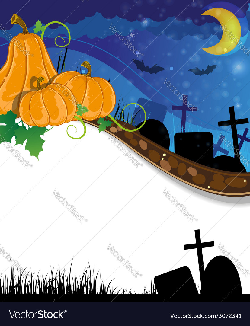Halloween pumpkins on the cemetery vector | Price: 3 Credit (USD $3)