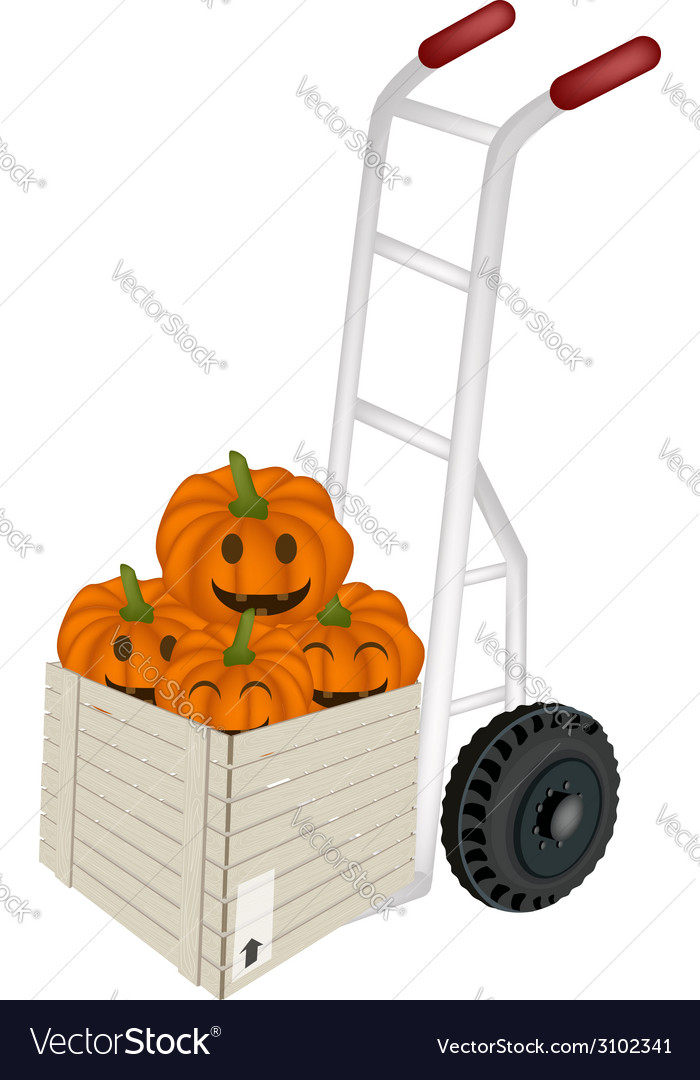 Hand truck loading jack-o-lantern pumpkins vector | Price: 1 Credit (USD $1)