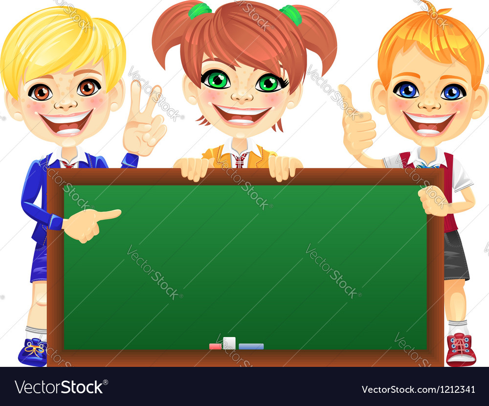Happy schoolchildren with green banner blackboard vector | Price: 3 Credit (USD $3)