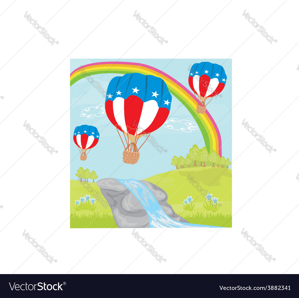 Hot air balloons of 4 of july in flight vector | Price: 1 Credit (USD $1)