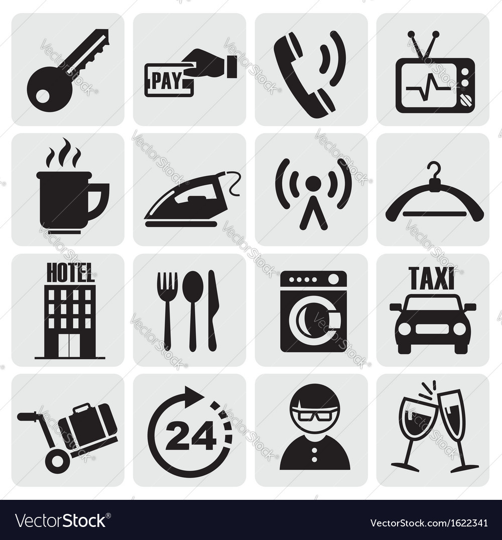 Hotel and rest icons set vector | Price: 1 Credit (USD $1)