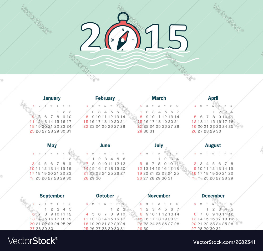 Marine calendar 2015 year with compass vector | Price: 1 Credit (USD $1)