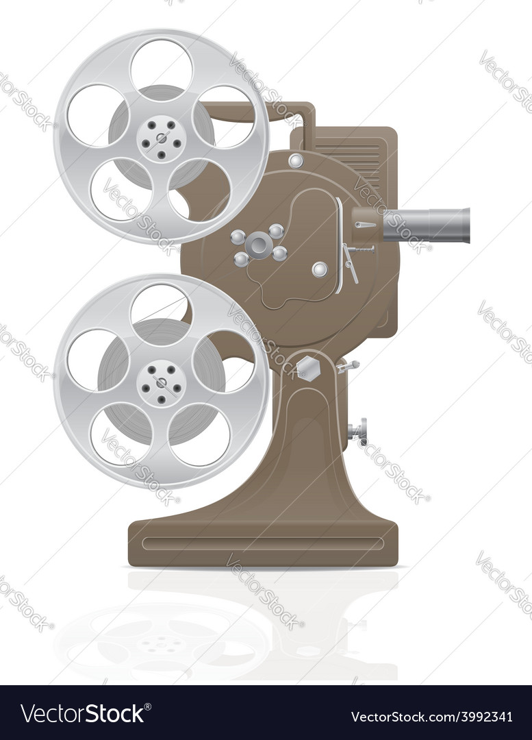 Old retro movie film projector 01 vector | Price: 1 Credit (USD $1)