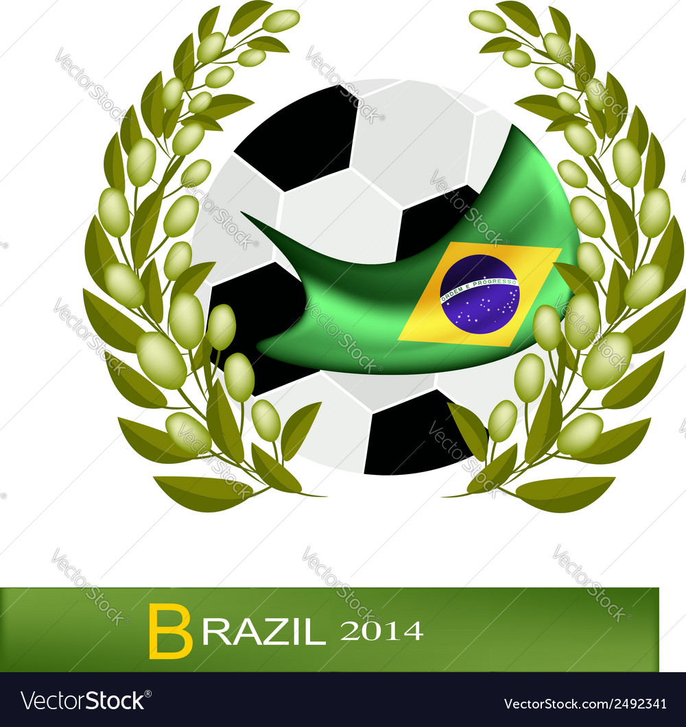 Soccer ball with laurel wreath in brazil 2014 vector | Price: 1 Credit (USD $1)