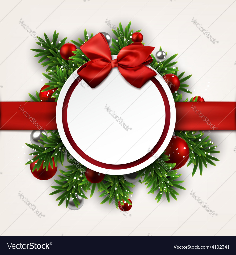 White round paper christmas card with bow vector | Price: 1 Credit (USD $1)