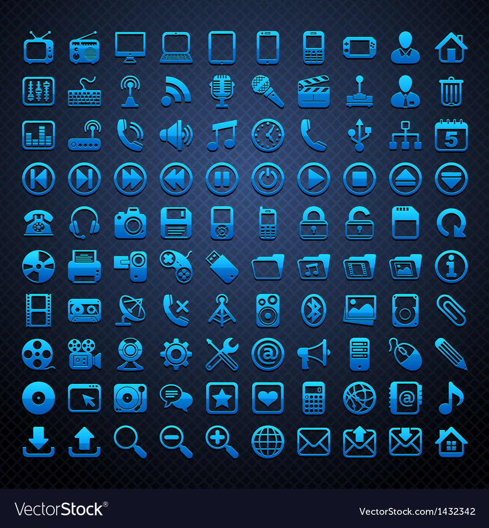 100 blue icons vector | Price: 1 Credit (USD $1)