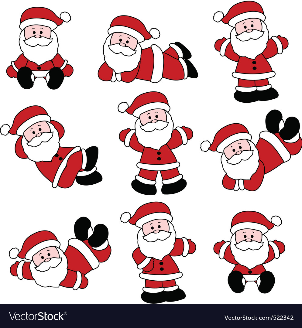9 festive cute santa set vector | Price: 1 Credit (USD $1)