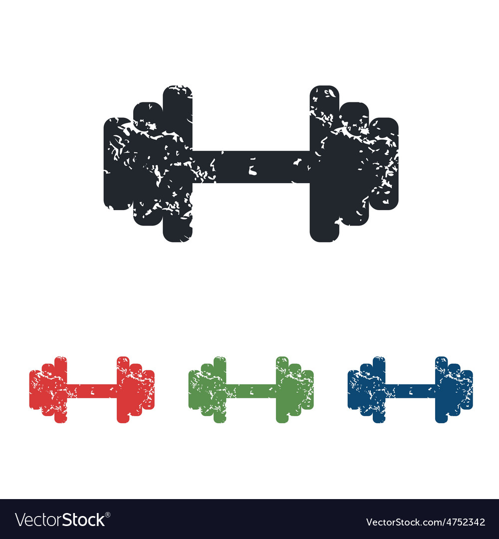 Barbell grunge icon set vector | Price: 1 Credit (USD $1)