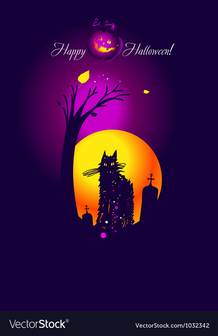 Card halloween cat violet vector | Price: 1 Credit (USD $1)