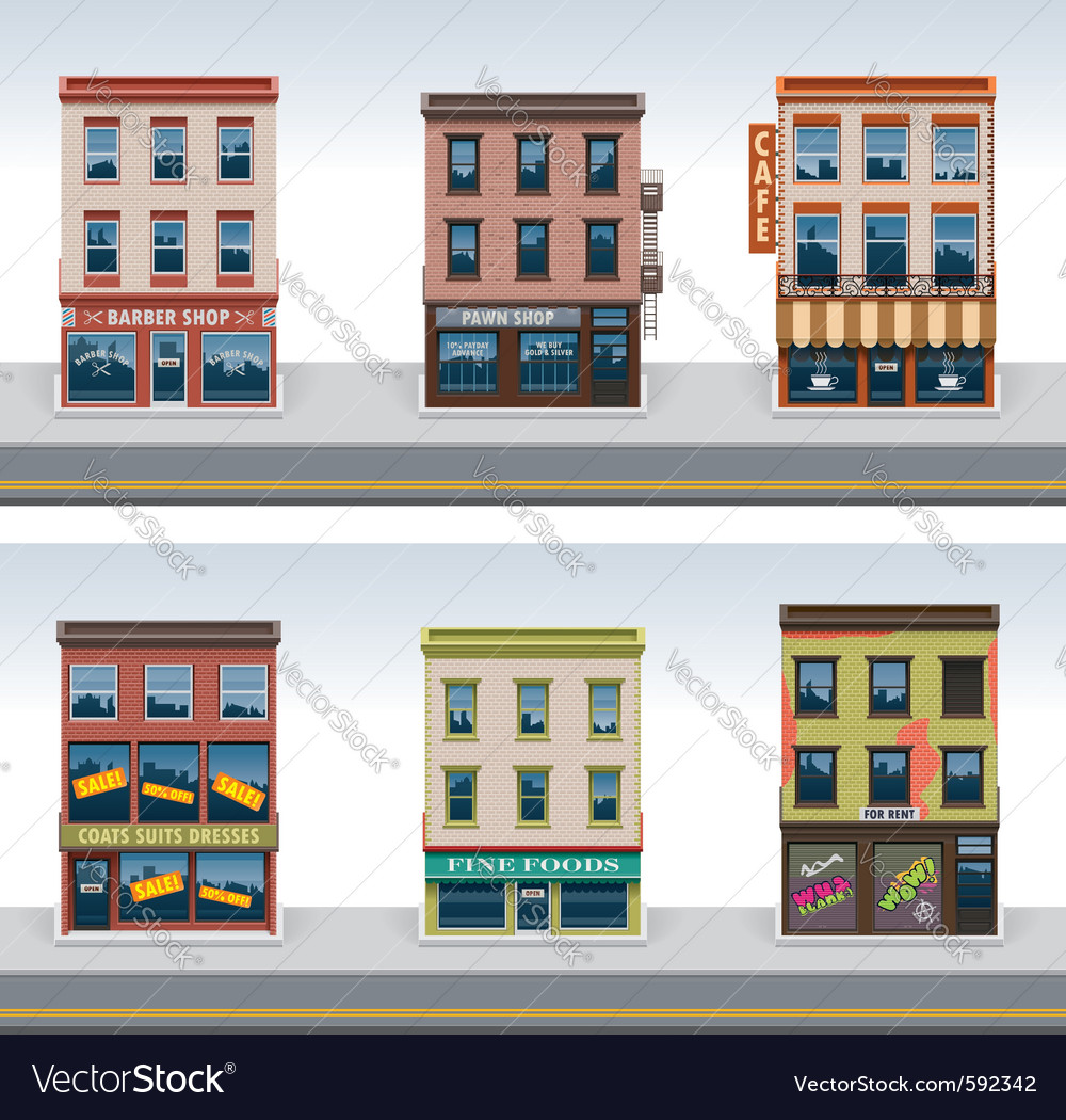 City buildings icon set vector