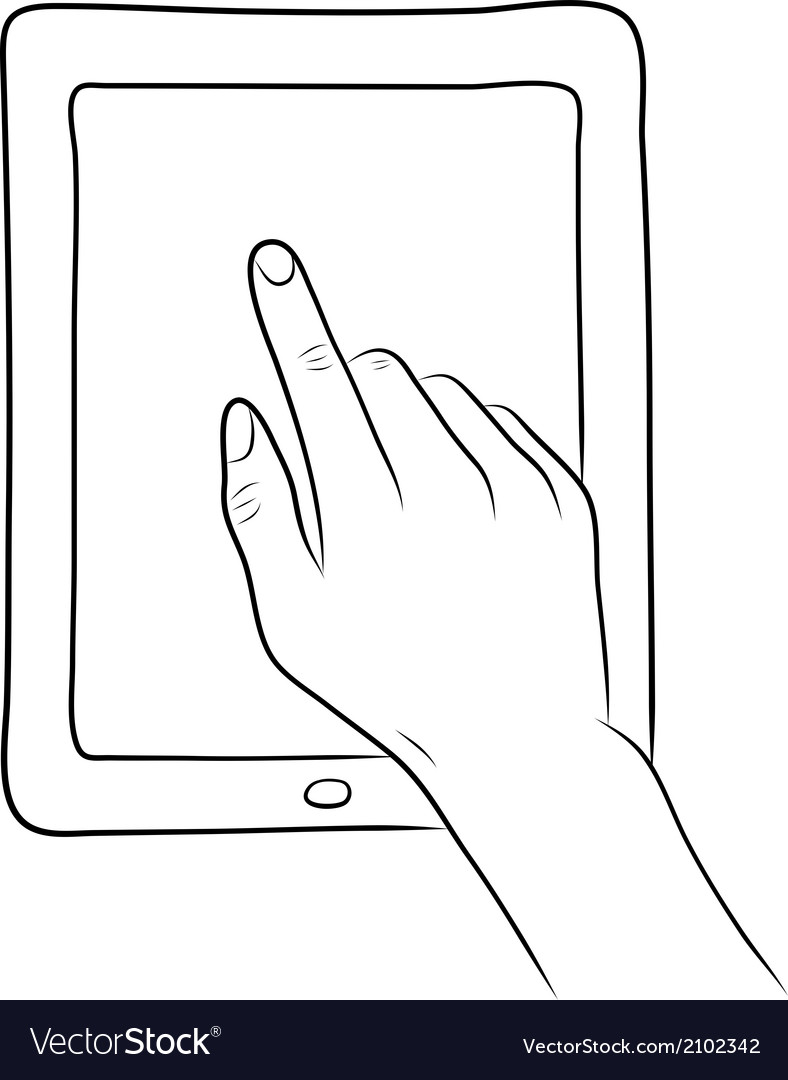 Hand touch screen on tablet pc vector | Price: 1 Credit (USD $1)