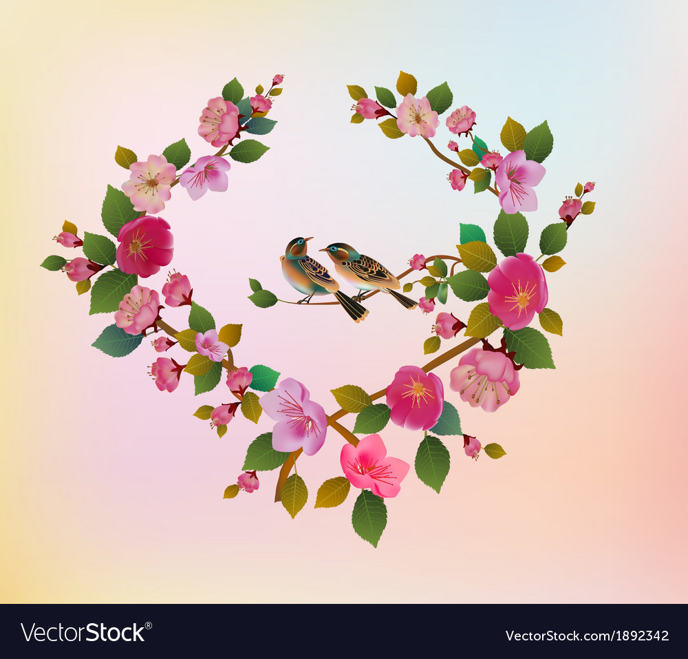 Love birds sakura spring valentines day vector | Price: 1 Credit (USD $1)