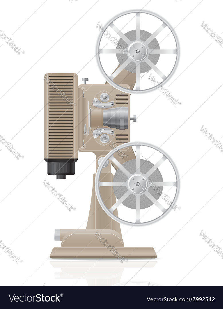 Old retro movie film projector 02 vector | Price: 1 Credit (USD $1)