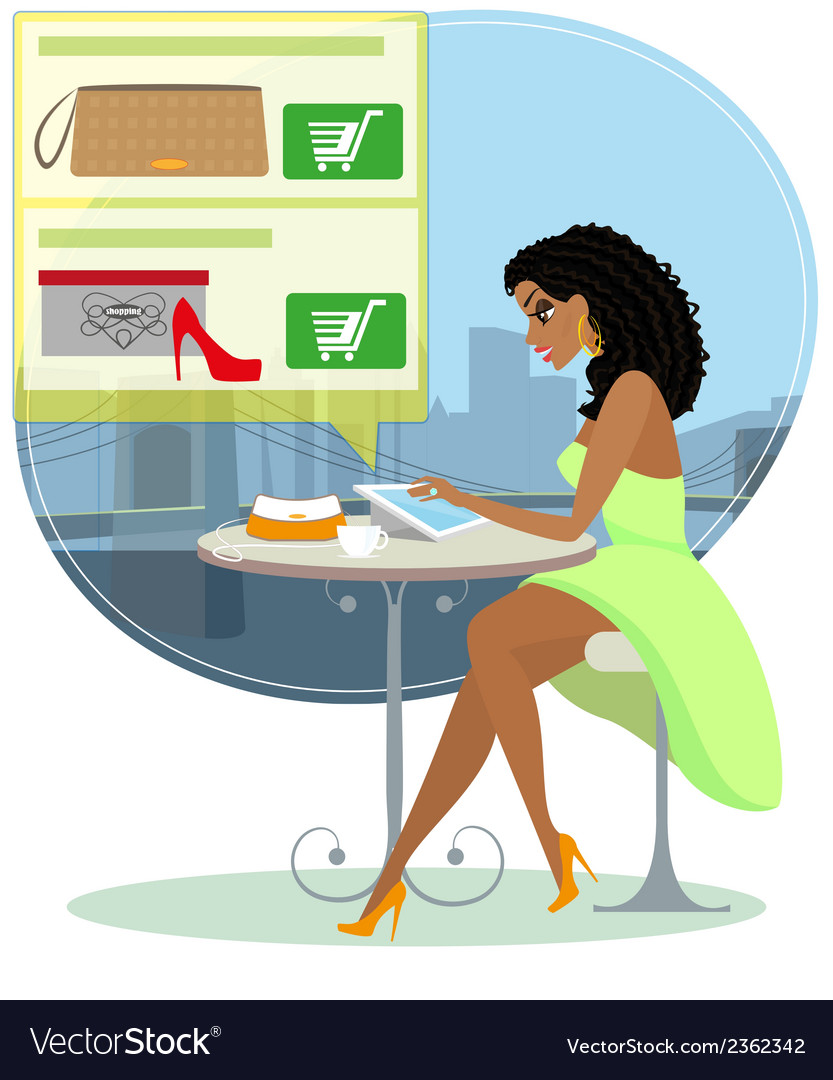 Pretty blackhair woman sitting alone in the cafe vector | Price: 1 Credit (USD $1)