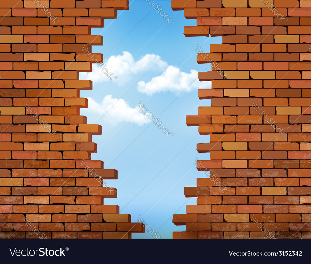 Vintage brick wall background with hole vector | Price: 1 Credit (USD $1)